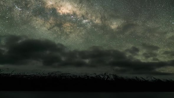 Thumbnail for Left Motion View of Milky Way Galaxy and the Starry Night Sky with Perseides Meteor Shower.