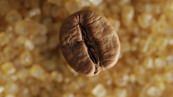 Thumbnail for Brown Coffee Bean on Sweet Brown Sugar Crystals,  Shot.