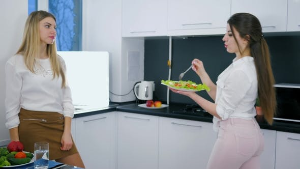 Thumbnail for Healthy Dinner of Woman Are Recording Video on Gadget with Salad at Cuisine