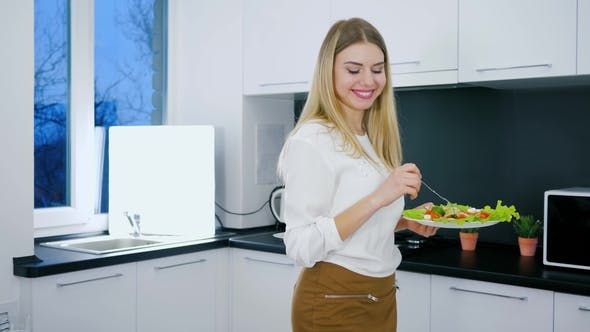 Healthy Lifestyle of Young Woman with Plate of Food Into Hand for Breakfast