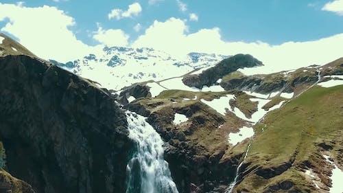 Aerial Alpine Mountains, Waterfall, Snow Cap. Mount Rainier and Alpine Meadows From the Skyline