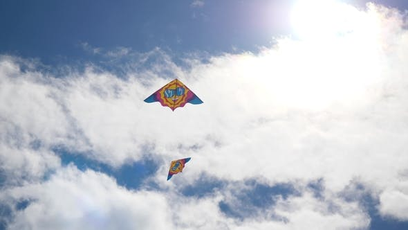 Thumbnail for Kites in the Sky. Colorful Kites Flying in Blue Sky. Under the Blue Sky Flying Kites