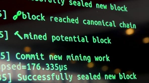 Thumbnail for Screen with Crypto Code, Green Digitals. Programm Code for Mining Cryptocurrency, Mining Work