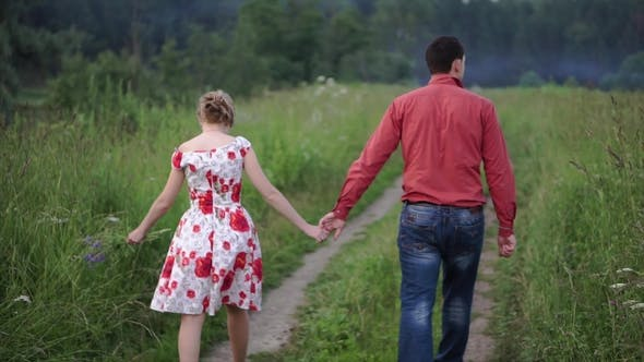 Thumbnail for Beautiful Couple Walking on the Nature. Clip. Rear View of Couple Walking in Forest Holding Hands
