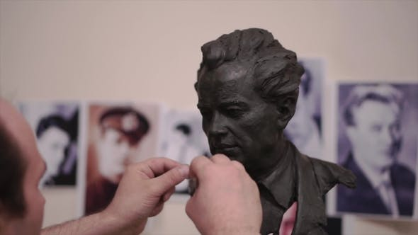 Thumbnail for Sculptor Created a Figure of a Man. Clip. Man Creates His Own Hands the Bust of a Man. Concept Art