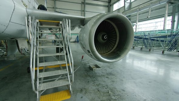 Thumbnail for Aircraft Engine in the Hangar. Airplane Turbine Detail, Plane in Hangar. Engine of the Airplane