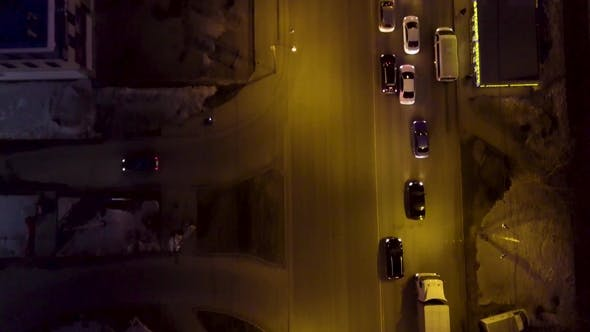 Thumbnail for Evening Road Traffic. Night Illumination. Aerial Drone From Above View To Moving Cars. Aerial