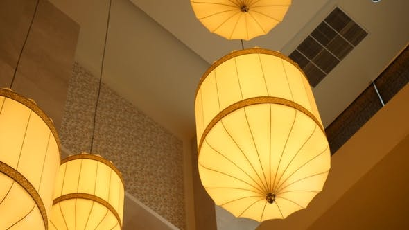 Thumbnail for Paper Lanterns Hanging From the Ceiling. Chinese Paper Lantern Hanging From a Ceiling