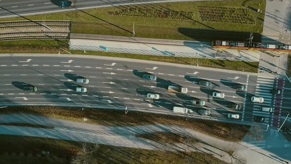 Thumbnail for Aerial of Road Traffic on Major City Street