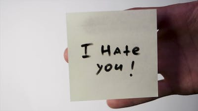 Sticker with the Words - i Hate You. I Hate You Message Post Card