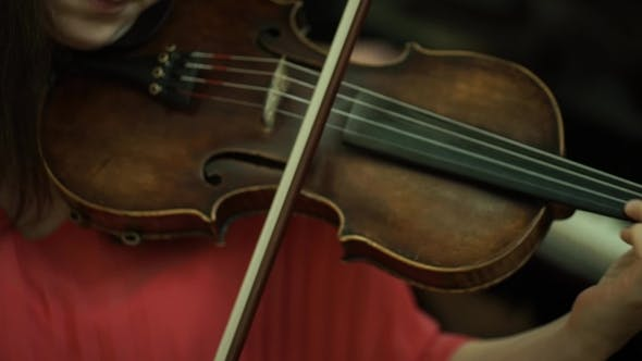 Girl's Hand on the Strings of a Violin. Girl's Hand on the Fingerboard Violin