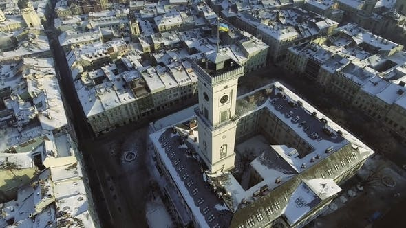 Thumbnail for Lviv City Centre in Snow From Above in Winter. Lviv, Ukraine