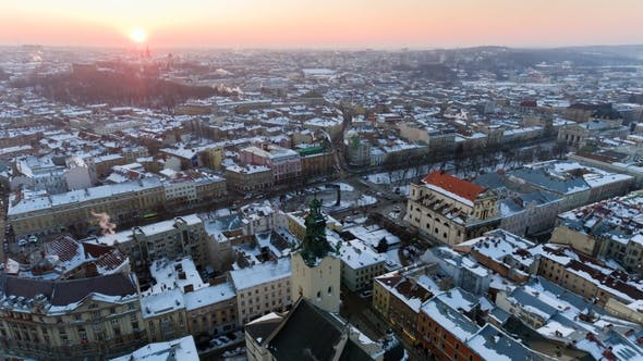 Thumbnail for Lviv City Centre in Snow From Above in Winter. Lviv, Ukraine.