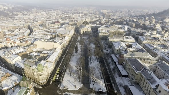 Thumbnail for Aerial Old City Lviv, Central Part of Old City. European City Lviv Opera Ukraine
