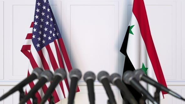 Thumbnail for Flags of the USA and Syria at International Press Conference
