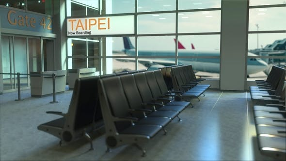Thumbnail for Taipei Flight Boarding in the Airport Travelling To Taiwan