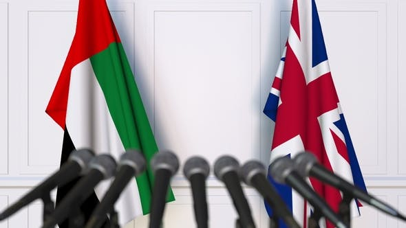 Thumbnail for Flags of the UAE and The United Kingdom at International Press Conference