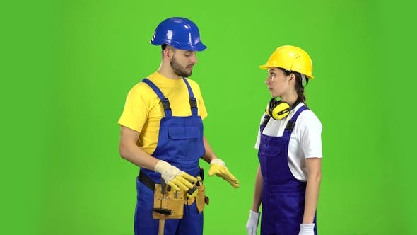 Thumbnail for Pair of Professional Builders Are Talking Among Themselves