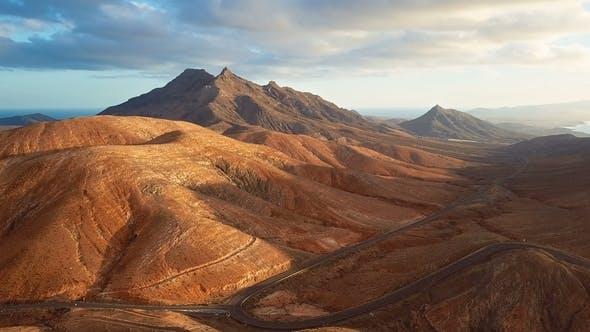 Thumbnail for Flight Over Desert Landscape, Fuerteventura Island, Spain