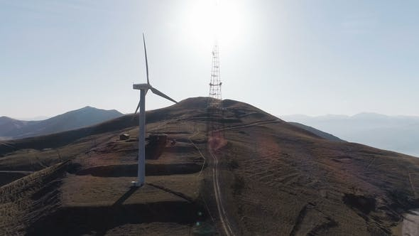 Thumbnail for Wind Turbine Generating Electricity on Blue Sky