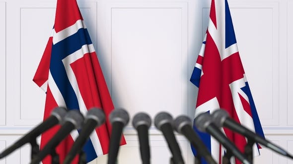 Thumbnail for Flags of Norway and The United Kingdom at International Press Conference