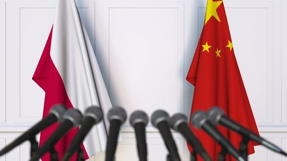 Thumbnail for Flags of Poland and China at International Press Conference