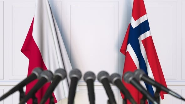 Thumbnail for Flags of Poland and Norway at International Press Conference
