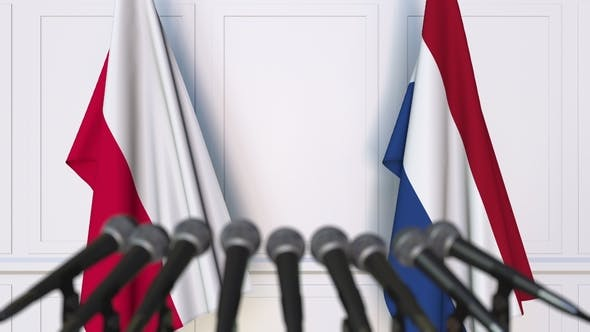 Thumbnail for Flags of Poland and Netherlands at International Press Conference