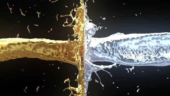 Thumbnail for Gold Silver Liquid Slow Motion Clash