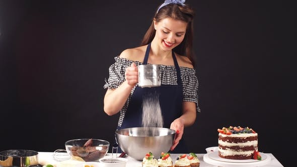 Thumbnail for Skilled Confectioner Adding Ingredients for Preparation of Dough, Baking Cake.