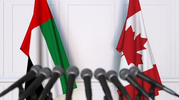Thumbnail for Flags of the UAE and Canada at International Press Conference