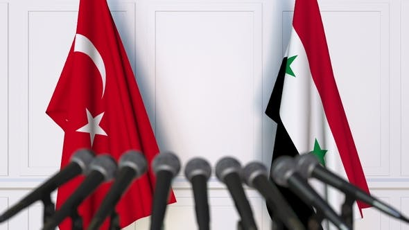 Thumbnail for Flags of Turkey and Syria at International Press Conference