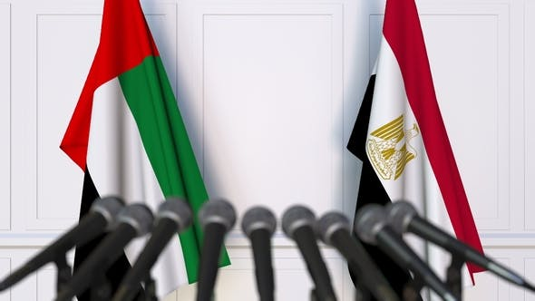 Thumbnail for Flags of the UAE and Egypt at International Press Conference