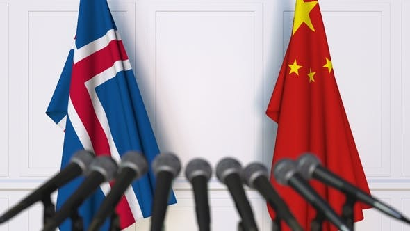 Flags of Iceland and China at International Press Conference