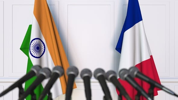 Thumbnail for Flags of India and France at International Press Conference
