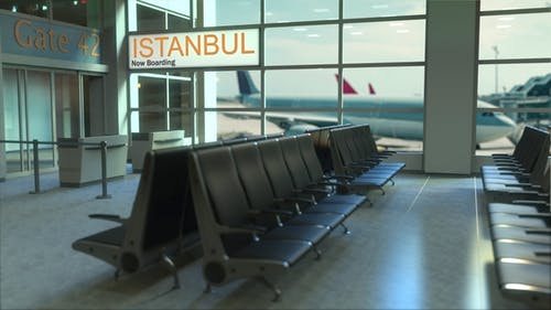 Istanbul Flight Boarding in the Airport Travelling To Turkey