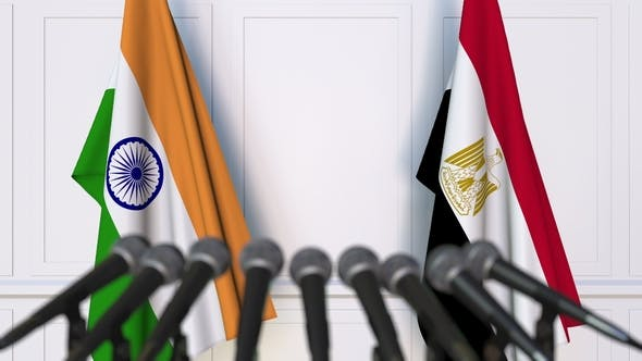 Thumbnail for Flags of India and Egypt at International Press Conference