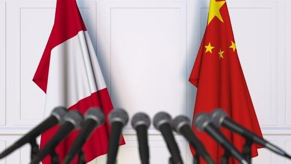 Thumbnail for Flags of Peru and China at International Press Conference