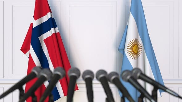 Thumbnail for Flags of Norway and Argentina at International Press Conference