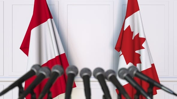 Thumbnail for Flags of Peru and Canada at International Press Conference