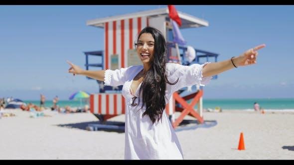 Thumbnail for Happy Girl on Tropical Beach Posing