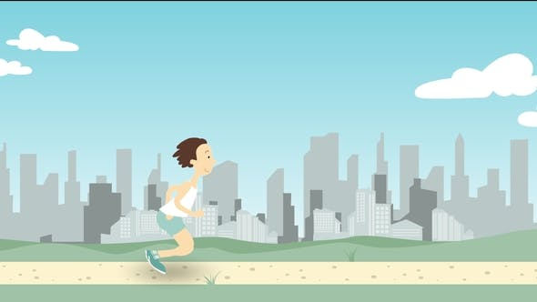 Thumbnail for Man Running Along Park Pathway Against City Skyline