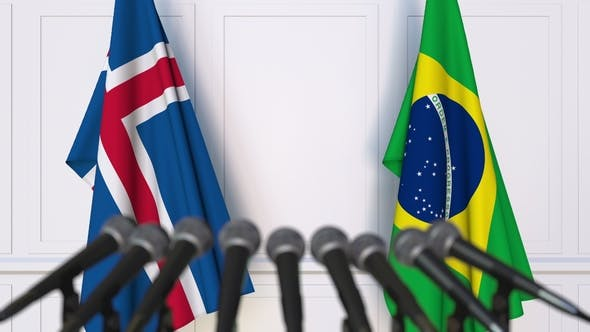 Thumbnail for Flags of Iceland and Brazil at International Press Conference