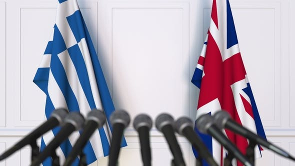 Thumbnail for Flags of Greece and The United Kingdom at International Press Conference