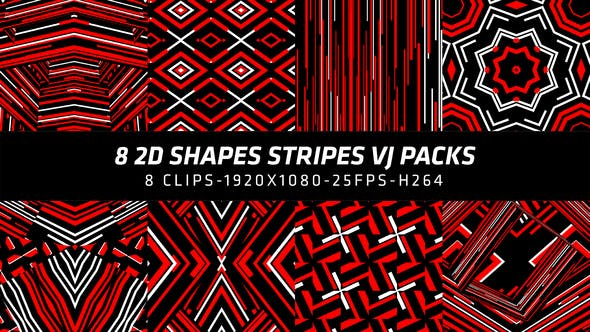 Thumbnail for 2D Shapes Stripes Vj Packs 8 in 1