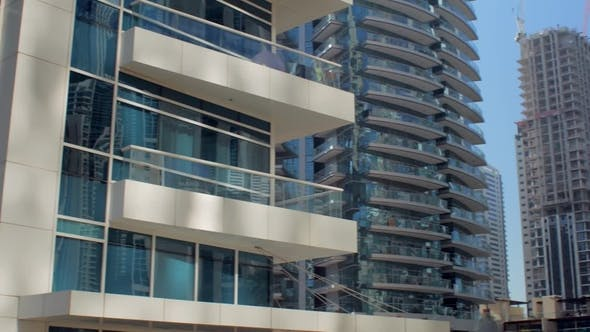 Thumbnail for Panorama of Modern Buildings and Unfinished Skyscrapers in Dubai Marina Area in Daytime