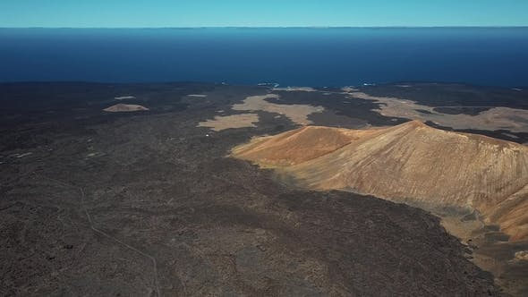 Aerial Panorama of Volcanic Valley, Timanfaya Park, Lanzarote, Canary Islands