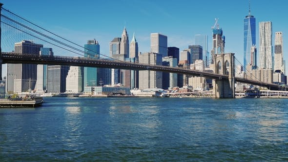 Thumbnail for The Famous Brooklyn Bridge in New York, USA. Clear Autumn Day, Morning