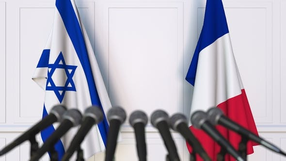 Thumbnail for Flags of Israel and France at International Press Conference