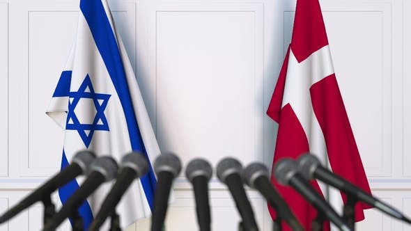 Thumbnail for Flags of Israel and Denmark at International Press Conference